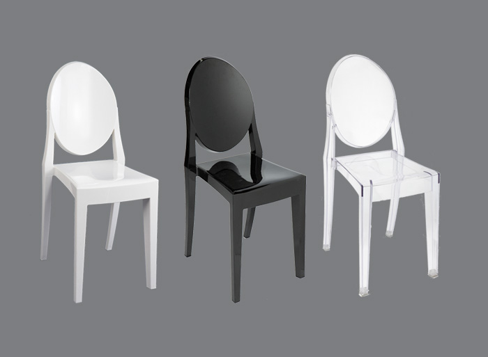 Chair victoria ghost in black white or clear